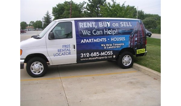 Digitally printed vinyl vehicle wrap and window graphics