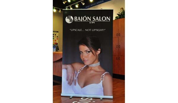 When beauty is a must, we can help with impactful digital graphics.  (Display banner by Signs Now Cincinnati for Bajon Salon, West Chester, OH)