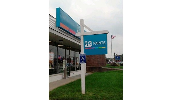 Paint the town with a custom post and panel sign!  (Custom Digitally Printed Panel by Signs Now Cincinnati for PPG Paints, Hamilton, OH)