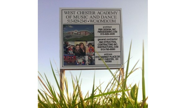 New development?  Share the news with custom post and panel signs!  (Custom Post and Panel Sign by Signs Now Cincinnati for West Chester Academy of Music & Dance, West Chester, OH)
