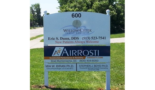 Whats the best way to update your exterior sign?  Well keep you posted!  (Post and Panel Sign by Signs Now Cincinnati for Willow Creek Family Dentistry, Oxford, OH)