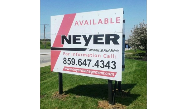 Helping you increase your visibility!  (Post and panel V sign by Signs Now Cincinnati for Neyer Management, Cincinnati, OH)
