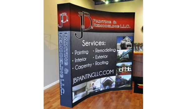 We providing design and products that are as refreshing as your business!  (Refreshed company logo and hopup display by Signs Now Cincinnati for JB Painting & Remodeling, West Chester, OH).