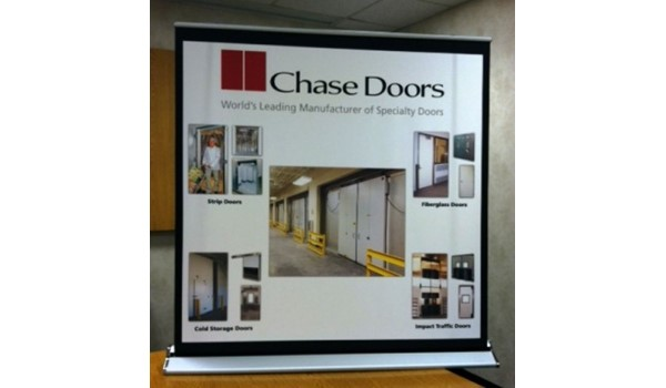 Helping you present yourself and your business in the best possible light.  (Table top banner by Signs Now Cincinnati for Chase Doors, Cincinnati, OH)