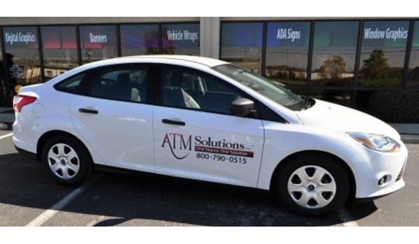 Promote your business with custom vehicle graphics.  (Vehicle graphics by Signs Now Cincinnati for ATM Solutions, Cincinnati, OH)