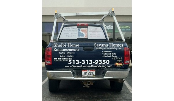 Turn your vehicle into a moving billboard with window graphics and vinyl lettering. (Vehicle graphics by Signs Now Cincinnati for Savana Homes, Loveland, OH)