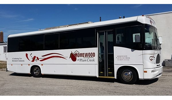 We installed all new lettering and graphics on this bus for Homewood of Hanover, PA.