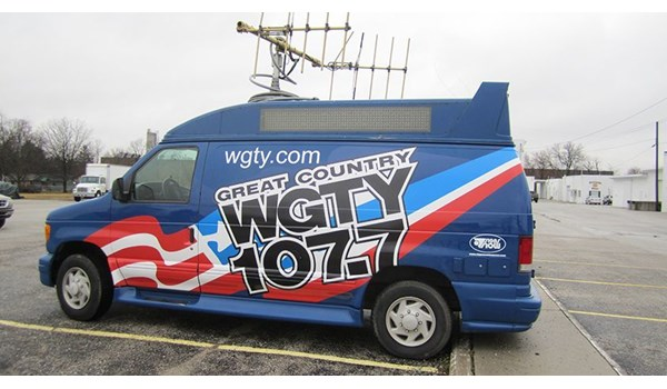 Van graphics produced and installed for WGTY of Gettysburg, PA.