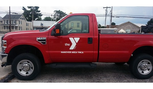 Simple but effective lettering for the Hanover Area YMCA.