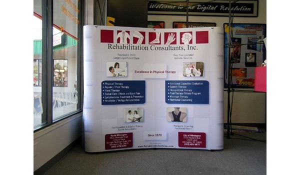 Fully magnetic popup display system with velcro receptive fabric backwall