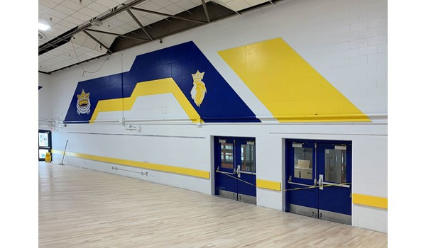 Interior Signage design of Royal Crown Academic School gym, main entrance