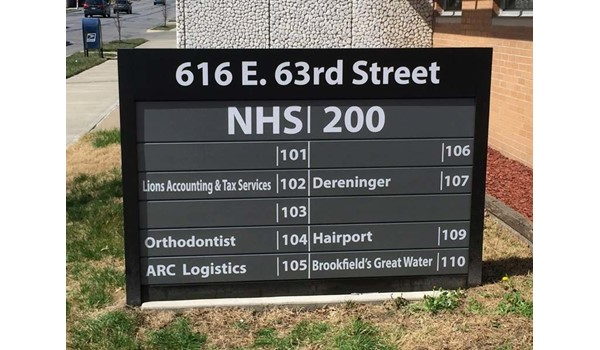 Exterior Directory Sign for NHS in Kansas City, MO