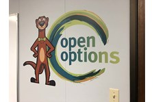 Interior Opie the Otter Wall Graphic for Open Options in Kansas City, Missouri