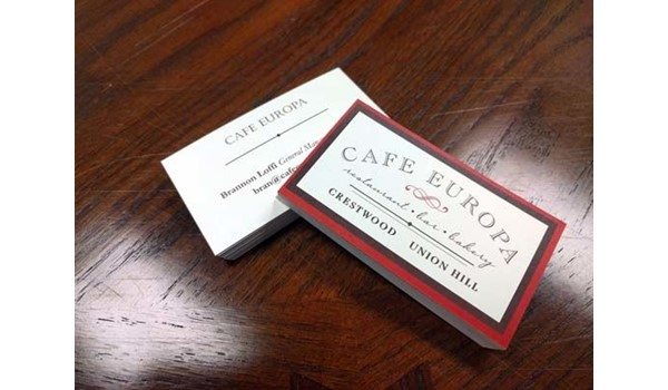 Double Sided Full Color Natural Business Cards for Cafe Europa in Kansas City, Missouri