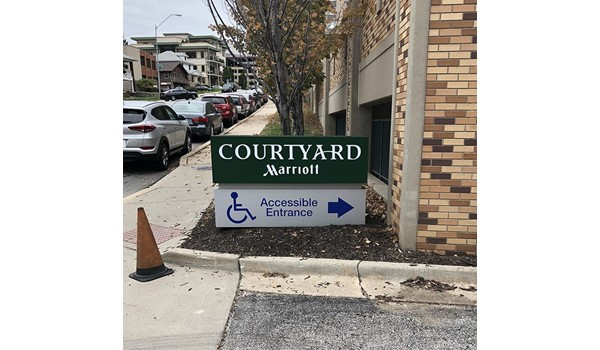 Exterior Cut Vinyl ADA Lettering and Decal for KC Marriott Country Club Plaza in Kansas City, Missouri