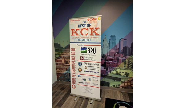 Retractable Banner Stand with Vinyl Graphic for KCK Chamber in Kansas City, Kansas