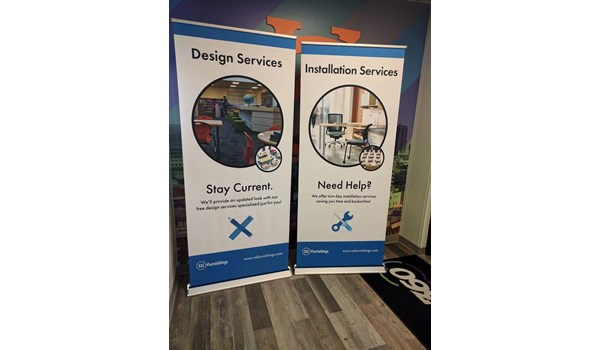 Retractable Banner Stands with Fabric Graphics for Turn the Page Online Marketing in Lees Summit, Missouri
