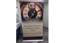 4 Ft Retractable Banner Stand with Vinyl Graphic for Turn the Page Online Marketing in Lee