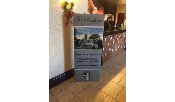 X-Frame Banner Stand with Full-Color Vinyl Banner Graphic for Courtyard by Marriott Kansas City Country Club Plaza in Kansas City, Missouri