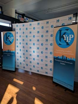 Retractable Banner Stands and Step and Repeat Backdrop for Young Latino Professionals in Kansas City, MO