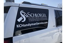 Cut White Vinyl Lettering for Schloegel Remodel in Kansas City, Missouri
