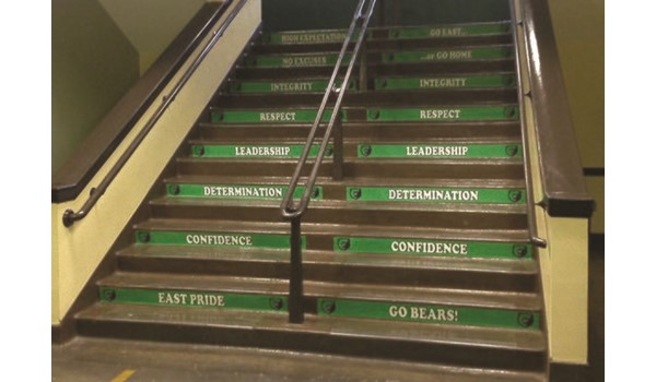 Custom Stairwell Graphics for East High School in Kansas City, MO
