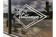 Exterior Cut Vinyl Window Graphic for Venturemen Barbering Shoppe in Kansas City, Missouri