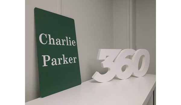 Exterior Metal Charlie Parker Gravesite Sign for Slider Funeral Home in Kansas City, Kansas