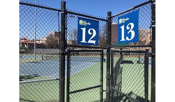 Exterior Aluminum Composite Court Number Wayfinding Signs for Plaza Tennis Center in Kansas City, Missouri