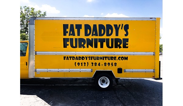 Box Truck Vinyl Vehicle Graphic Lettering for Fat Daddys Furniture in Kansas City, Kansas