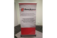 Tabletop Retractable Banner Stand for Fire Door Solutions in Stilwell, Kansas