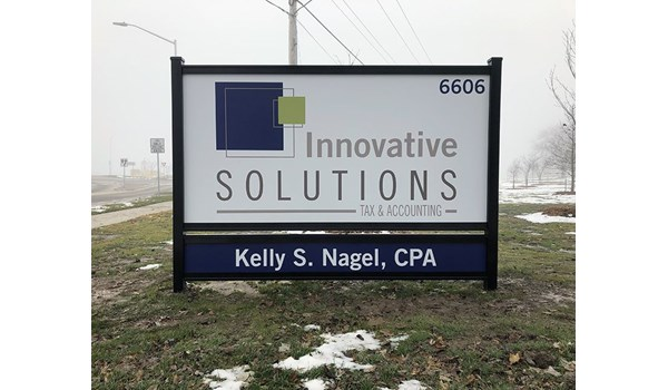 Exterior Metal Post and Panel Sign for Innovative Solutions in North Kansas City, Missouri