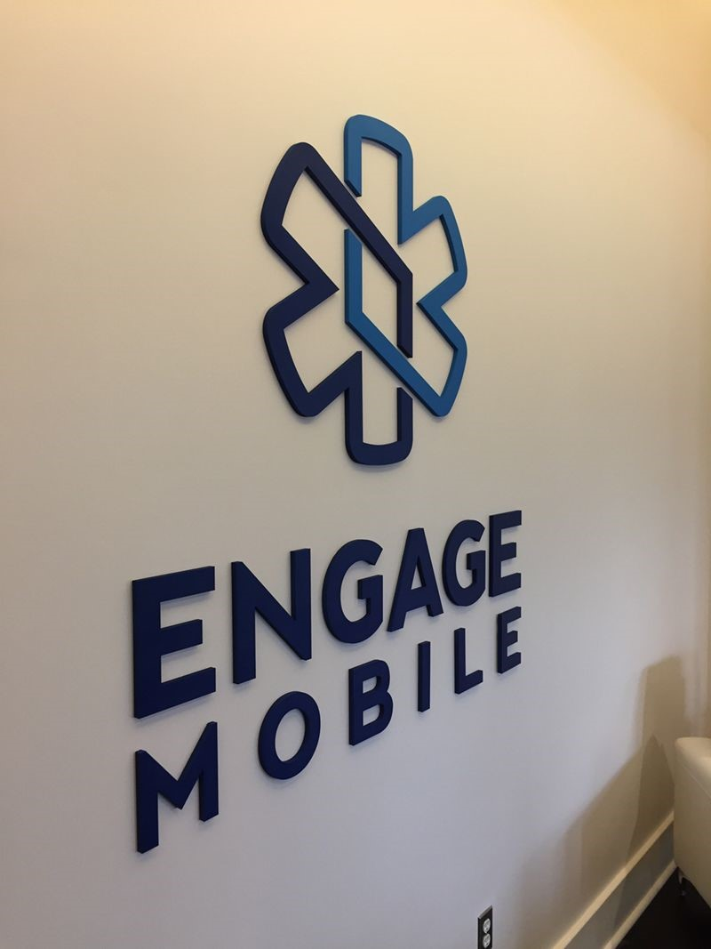 Interior PVC Custom Painted Dimensional Logo for Engage Mobile in Kansas City, Missouri