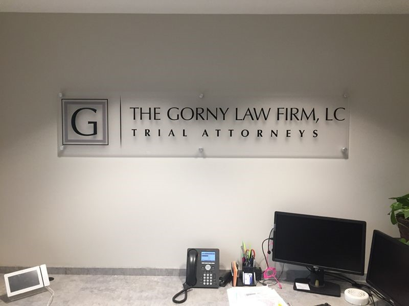 Interior Frosted Acrylic Display with Brushed Aluminum Standoffs for The Gorny Law Firm in Kansas City, Missouri