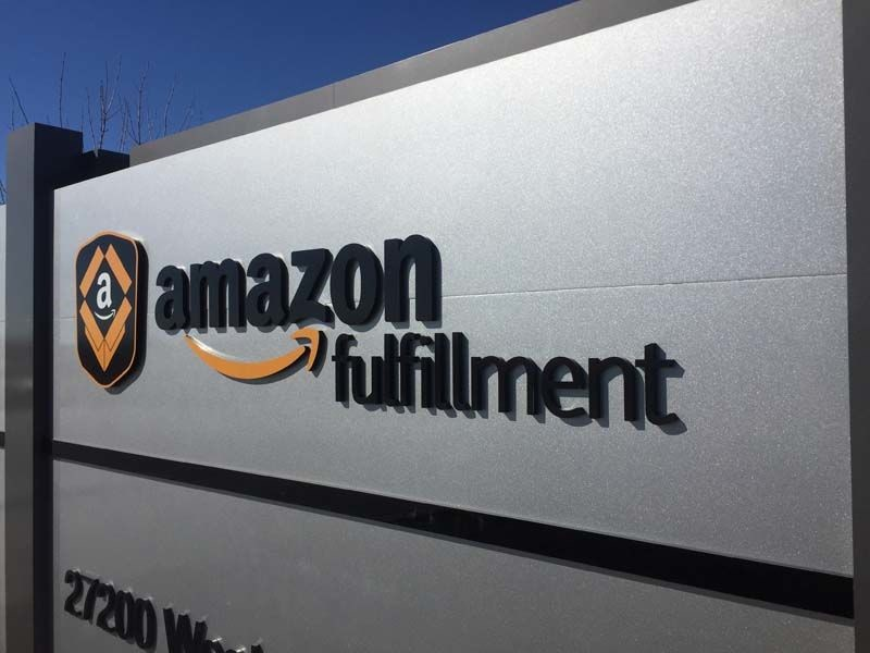 Reflective Dimensional Lettering for Amazon Warehouse Monument Sign in Gardner, KS