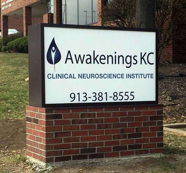 Exterior Illuminated Monument Sign for Awakenings KC in Prairie Village, Kansas