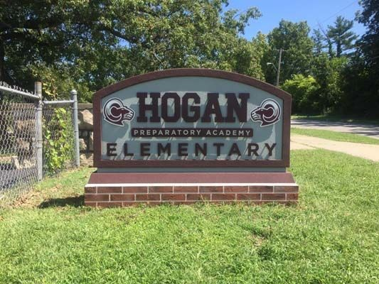 Exterior HDU Monument Sign with Dimensional Lettering for Hogan Preparatory Academy in Kansas City, Missouri