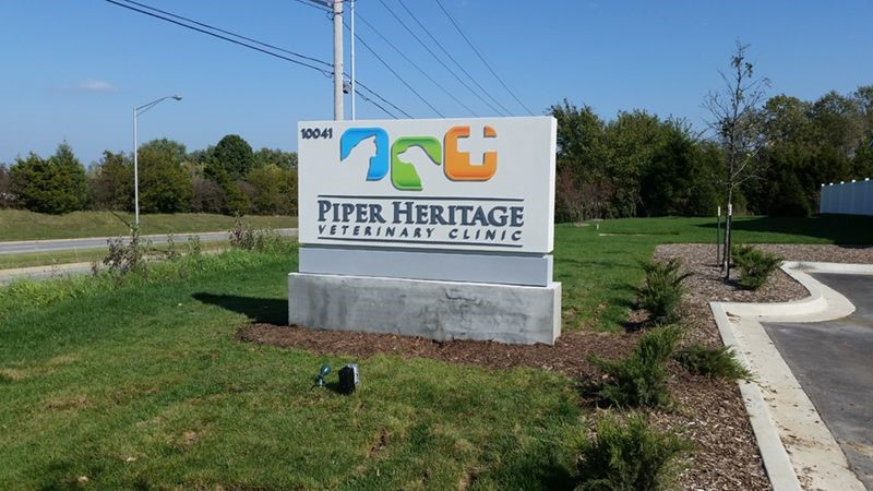 Exterior HDU Monument Sign for Piper Heritage Veterinary Clinic in Kansas City, Kansas