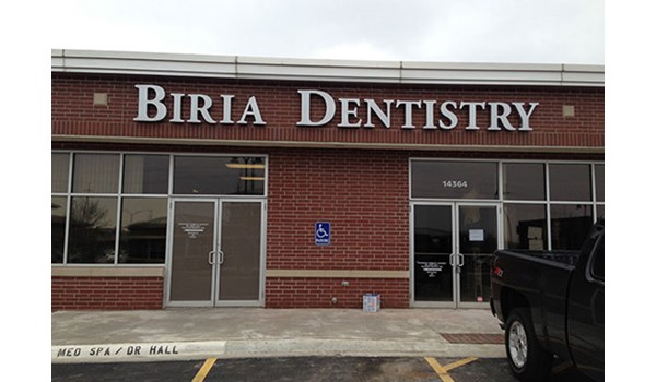 Exterior Illuminated Channel Letters for Biria Dentistry in Overland Park, KS
