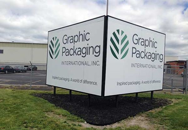 Exterior Wooden Post and Panel Sign for Graphic Packaging in Kansas City, MO