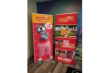 KC Wolf Retractable Banner Stands for the Kansas City Chiefs in Kansas City, Missouri