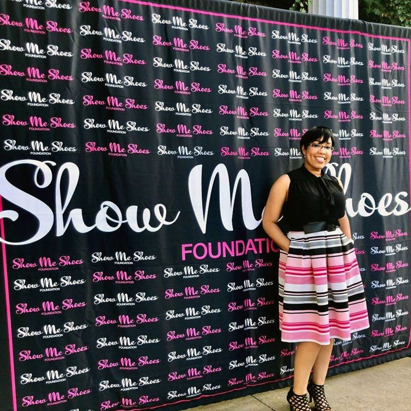 Step and Repeat Fabric Backdrop for Show Me Shoes Foundation in Kansas City, Missouri