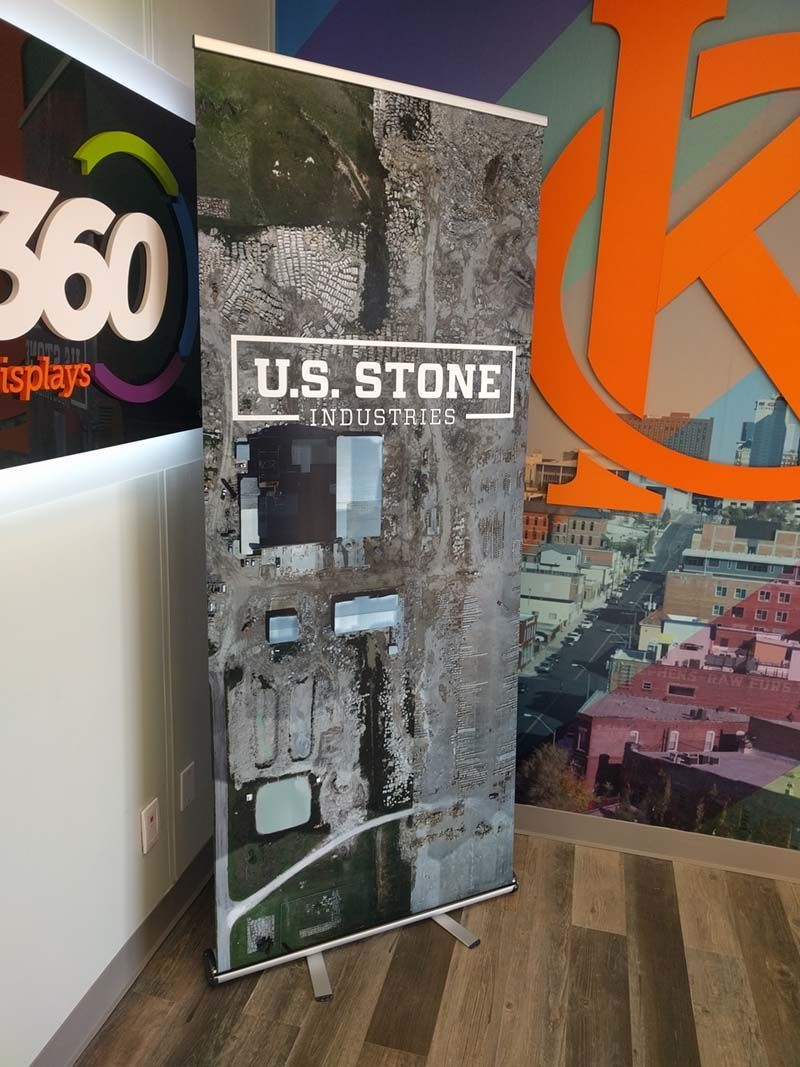 Retractable Banner Stand for US Stone Industries in Prairie Village, Kansas