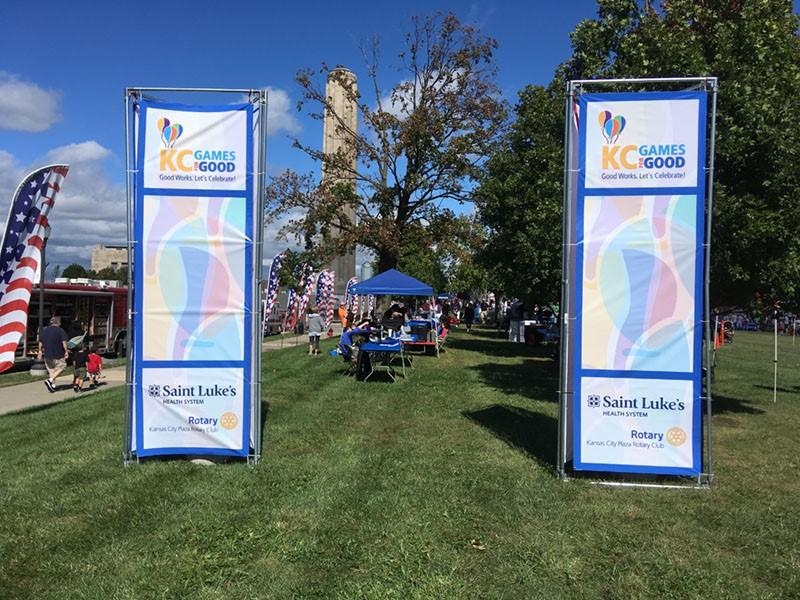 Vinyl Banners with Grommets for the Plaza Rotary Club for the 2017 KC Games for Good Event in Kansas City, Missouri