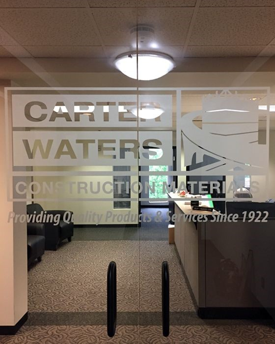 Interior Frosted Entry Door Graphic for Carter Waters in Overland Park, Kansas