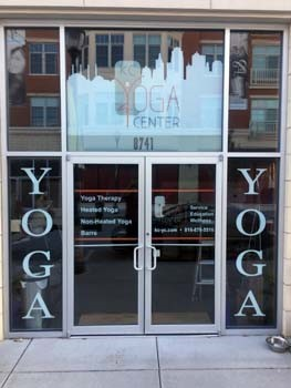 Window Storefront Graphics for KC Yoga Center in Kansas City, MO