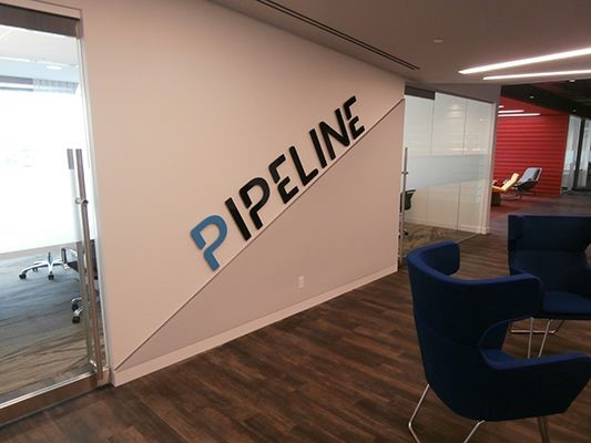 Pipeline acrylic interior dimensional wall sign