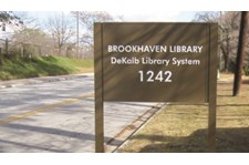 Post and Panel sign for the Brookhaven Library in Brookhaven, DeKalb County, GA