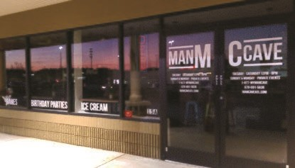 Window graphics for The Man Cave in Stone Mountain, GA