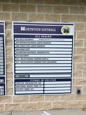 Northview softball directory and way-finding signage